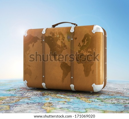 Travel concept, world map - stock photo