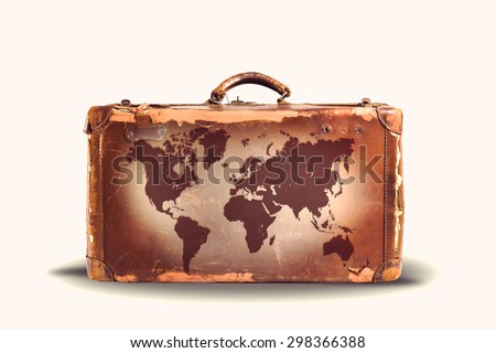 Travel concept, world map over vintage suitcase. white background. Vintge style. Instagram style - stock photo