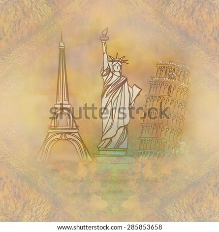 travel design element with different monuments  - stock photo