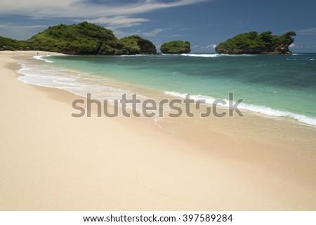 Travel destination of Watu Karung beach, Pacitan, Java, Indonesia - stock photo