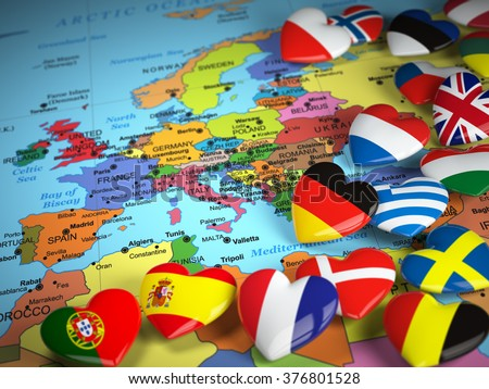 Travel EU concept. Map of Europe and hearts with flags of european countries.  3d - stock photo