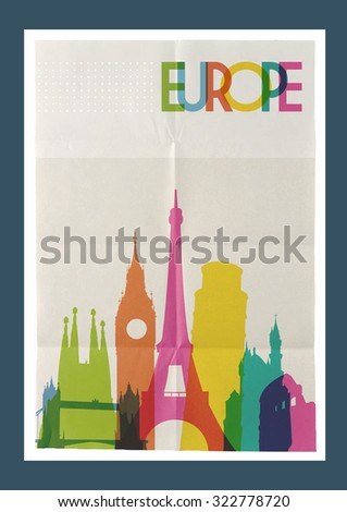 Travel Europe famous landmarks skyline on vintage paper sheet poster design background. Create your own website, brochure or marketing campaign. - stock photo