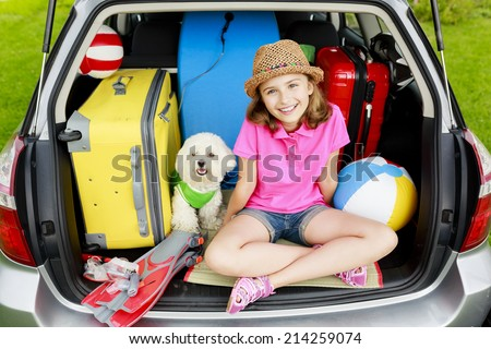 Travel - family ready for the travel for vacation - stock photo