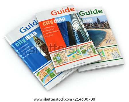Travel guide books on white isolated background. 3d - stock photo