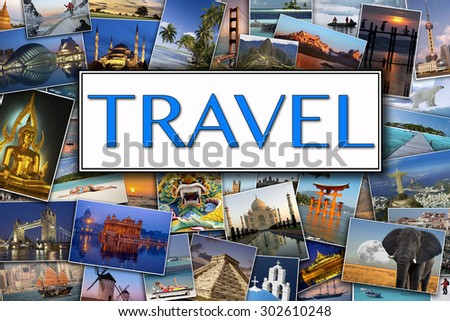 Travel Header - Photos of International travel Destinations - stock photo
