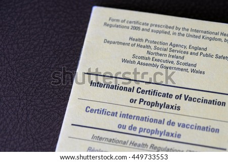 Travel health vaccination card vaccines yellow fever certificate