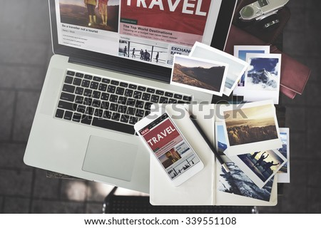 Travel Holiday Vacation Traveling Laptop Technology Concept - stock photo