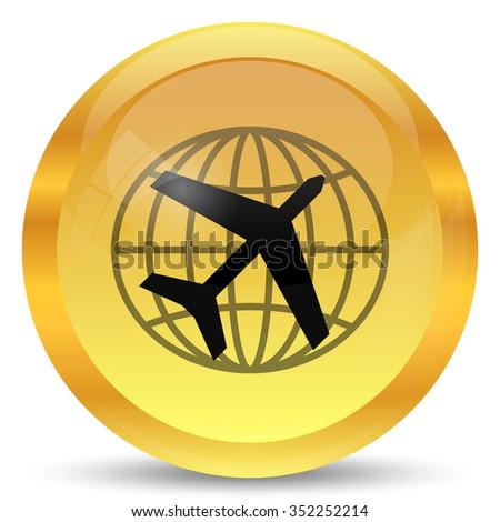Travel icon. Internet button on white background. - stock photo