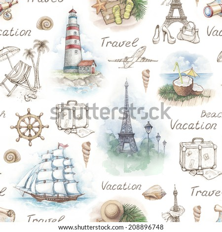 Travel illustrations. Seamless pattern - stock photo