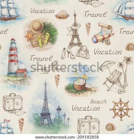 Travel illustrations. Seamless pattern - stock photo
