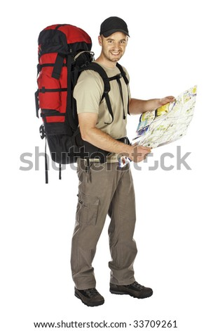 travel image of young caucasian man with big backpack and map in his hands