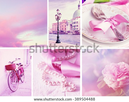 Travel in Italy. Set of pink colored photos. - stock photo