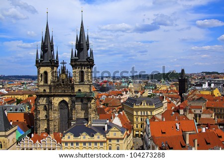 Travel in Prague, Old Town Square (Staromestské námestí), Church of Our Lady before Týn - stock photo