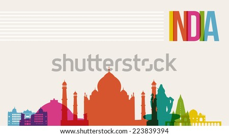 Travel India famous landmarks skyline multicolored design background. - stock photo
