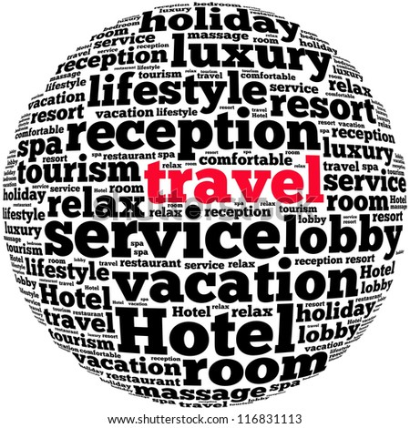Travel info-text graphics and arrangement concept on white background (word cloud)