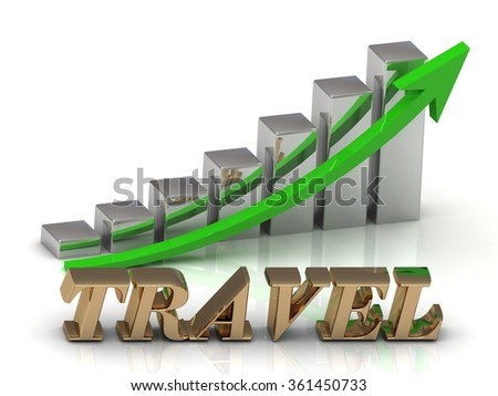 TRAVEL- inscription of gold letters and Graphic growth and gold arrows on white background
