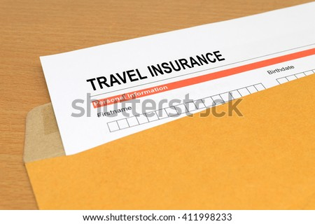 travel Insurance application form on brown envelope