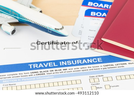 Travel insurance application form plane model stock photo image travel insurance application form with plane model red passport and boarding pass thecheapjerseys Choice Image