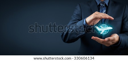 Travel insurance concept. Insurance agent with protective gesture and icon of plane and globe. Wide banner composition.