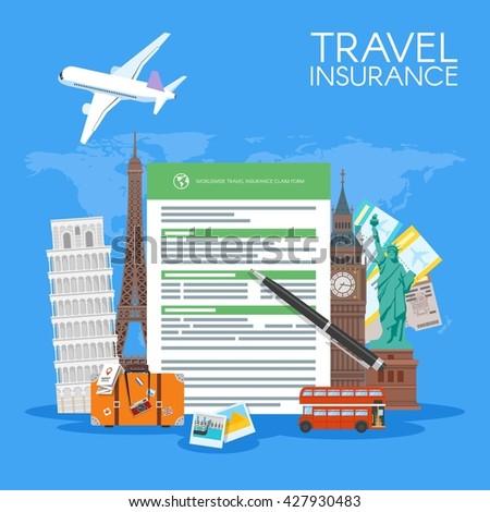 Travel insurance form concept illustration vacation stock travel insurance form concept illustration vacation background in flat style altavistaventures Choice Image