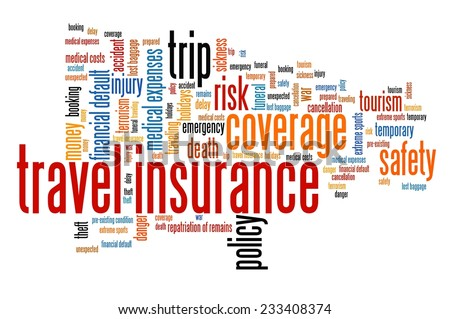 Travel insurance issues and concepts word cloud illustration. Word collage concept. - stock photo