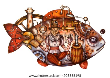 Travel into the big fish. Steampunk Illustration