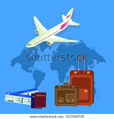 Travel isometric composition. Travel and tourism background.  World travel banner background with aircraft, map, passport and bags. Flat design.  - stock photo