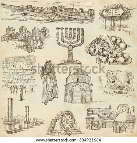 Travel, ISRAEL - Collection of an hand drawn illustrations. Description: Full sized hand drawn illustrations (freehand sketches). Drawing on old paper. - stock photo