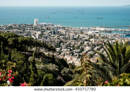 Travel Israel - vintage retro effect filtered hipster style image of Haifa skyline of port district panorama. Toned. - stock photo