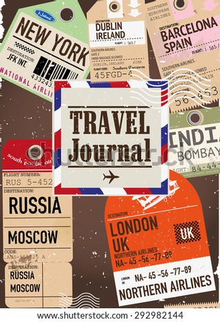 Travel Journal, this is a front cover illustration of a retro or vintage style travel journal. World travel journal and locations. - stock photo