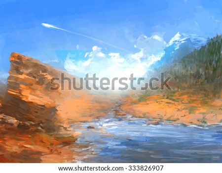 Travel Landscape Illustration with river coast and Mountains under blue sky. Beautiful Nature Scenery.