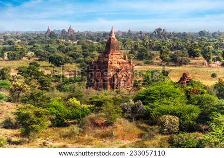 Travel landscapes and destinations. Amazing architecture of old Buddhist Temples at Bagan Kingdom, Myanmar (Burma) - stock photo