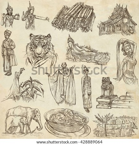 Travel LAOS - Pictures of Life. Collection of an hand drawn illustrations - Lao People's Democratic Republic. Pack of full sized hand drawn illustrations, set of freehand sketches. Drawing on paper. - stock photo