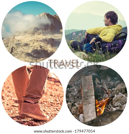 Travel lifestyle concept with mountains and people outdoor vacations collage - stock photo