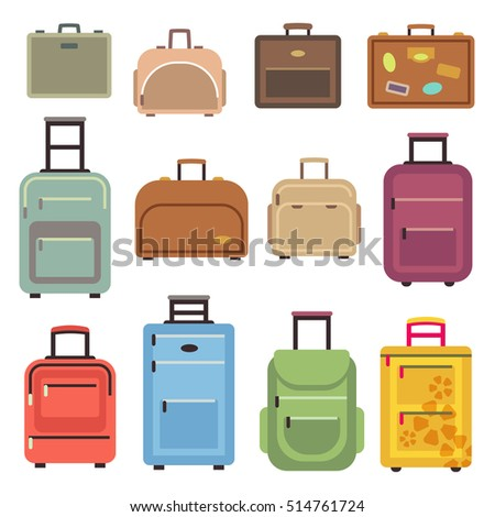 Travel luggage and set of travel bag, suitcase flat icons illustration