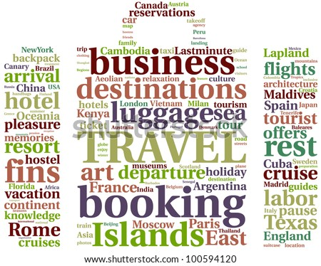 Travel luggage word cloud illustration concept over white / Travel luggage tag cloud - stock photo