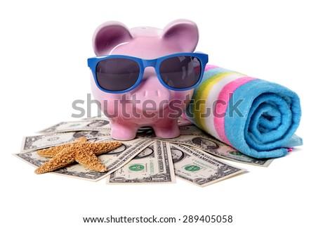 Travel money savings concept, summer vacation, piggybank - stock photo
