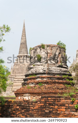 Travel old temple in ayutthaya of Thailand