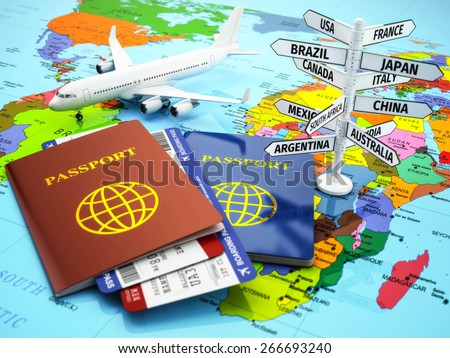 Travel or tourism concept. Passport, airplane, airtickets and destination sign on the map. 3d - stock photo