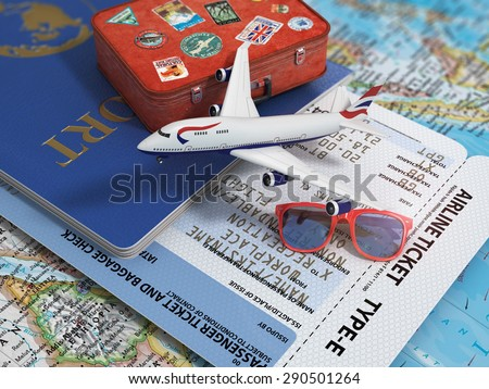 Travel or tourism concept. Passport, airplane, airtickets and suitcase on the map. - stock photo