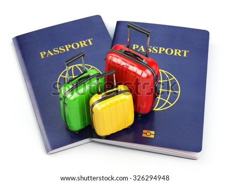 Travel or tourism concept. Passport and suitcases isolated on white. 3d - stock photo