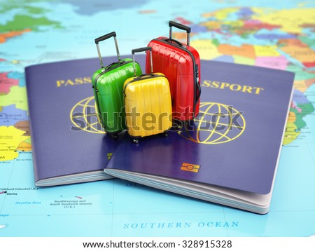 Travel or tourism concept. Passport and suitcases on the world map. 3d