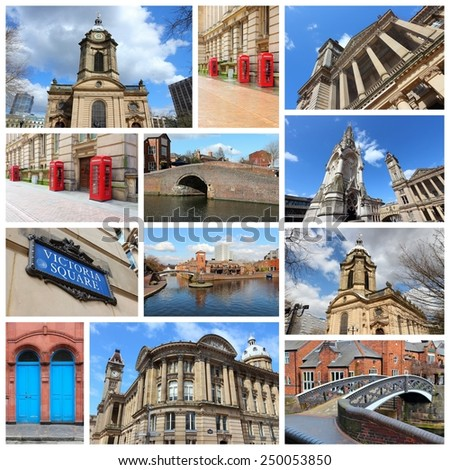 Travel photo collage from Birmingham, UK. Collage includes major landmarks like Art Gallery, Saint Philip's Cathedral and red telephone booths. - stock photo