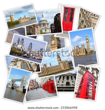 Travel photo collage from London, UK. Collage includes major landmarks like Big Ben, Saint Paul's Cathedral and red telephone booths. - stock photo