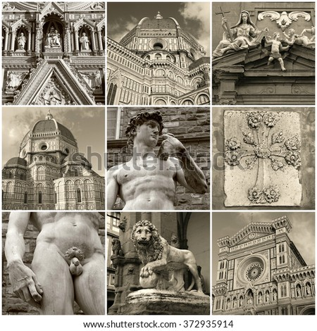 Travel photo collage of famous cathedral and sculptures in The Historic Centre of Florence, Italy. It was declared a World Heritage Site by UNESCO. Toned square monochrome photos. - stock photo
