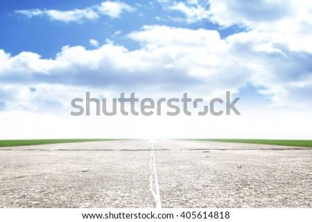 travel photo of runway on airport  - stock photo
