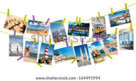 Travel pictures from Portugal hang on colorful pegs on white background