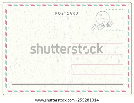 Travel postcard in air mail style with paper texture and rubber stamps  - stock photo