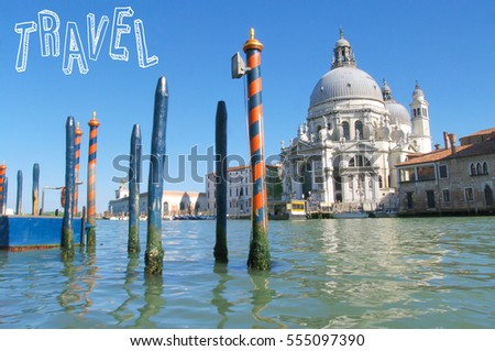 Travel postcard with view of Venice, Italy
