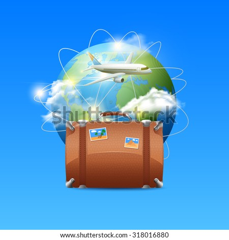 Travel poster with realistic globe tourist suitcase and airplane flying around the world  illustration - stock photo